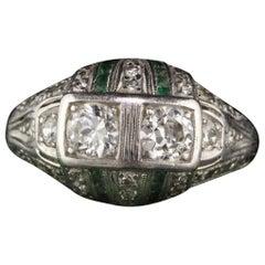 Antique Art Deco Platinum Old Euro Cut Diamond and Emerald Engagement Ring