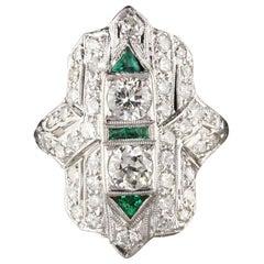 Antique Art Deco Platinum Old Euro Cut Diamond and Emerald Shield Ring
