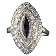 Antique Art Deco Platinum Old Euro Cut Diamond and Sapphire Shield Ring