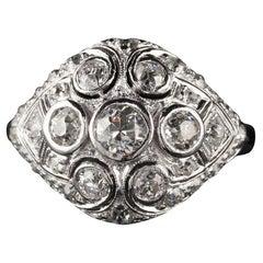 Antique Art Deco Platinum Old Euro Cut Diamond Engagement Ring