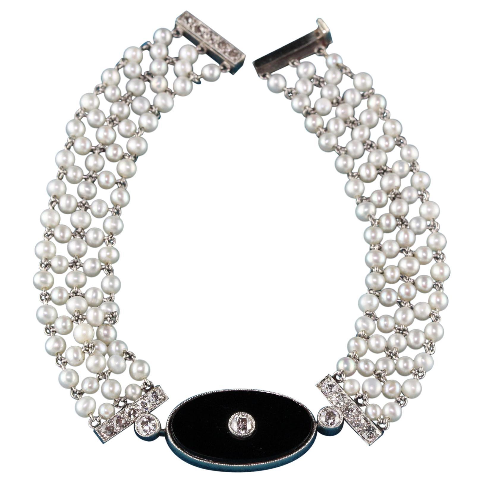 Antique Art Deco Platinum Old Euro Cut Diamond, Onyx, and Pearl Bracelet