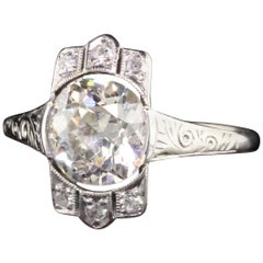 Antique Art Deco Platinum Old European Cut Diamond Engagement Ring