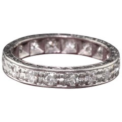 Antique Art Deco Platinum Old European Cut Diamond Eternity Band