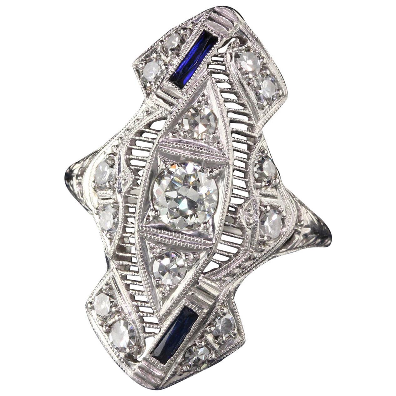 Antique Art Deco Platinum Old European Cut Diamond Sapphire Shield Ring