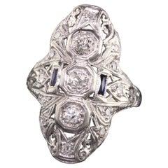 Antique Art Deco Platinum Old European Diamond and Sapphire Shield Ring