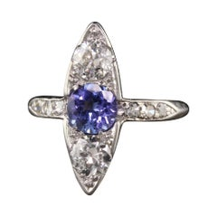 Antique Art Deco Platinum Old European Diamond and Sapphire Three Stone Ring