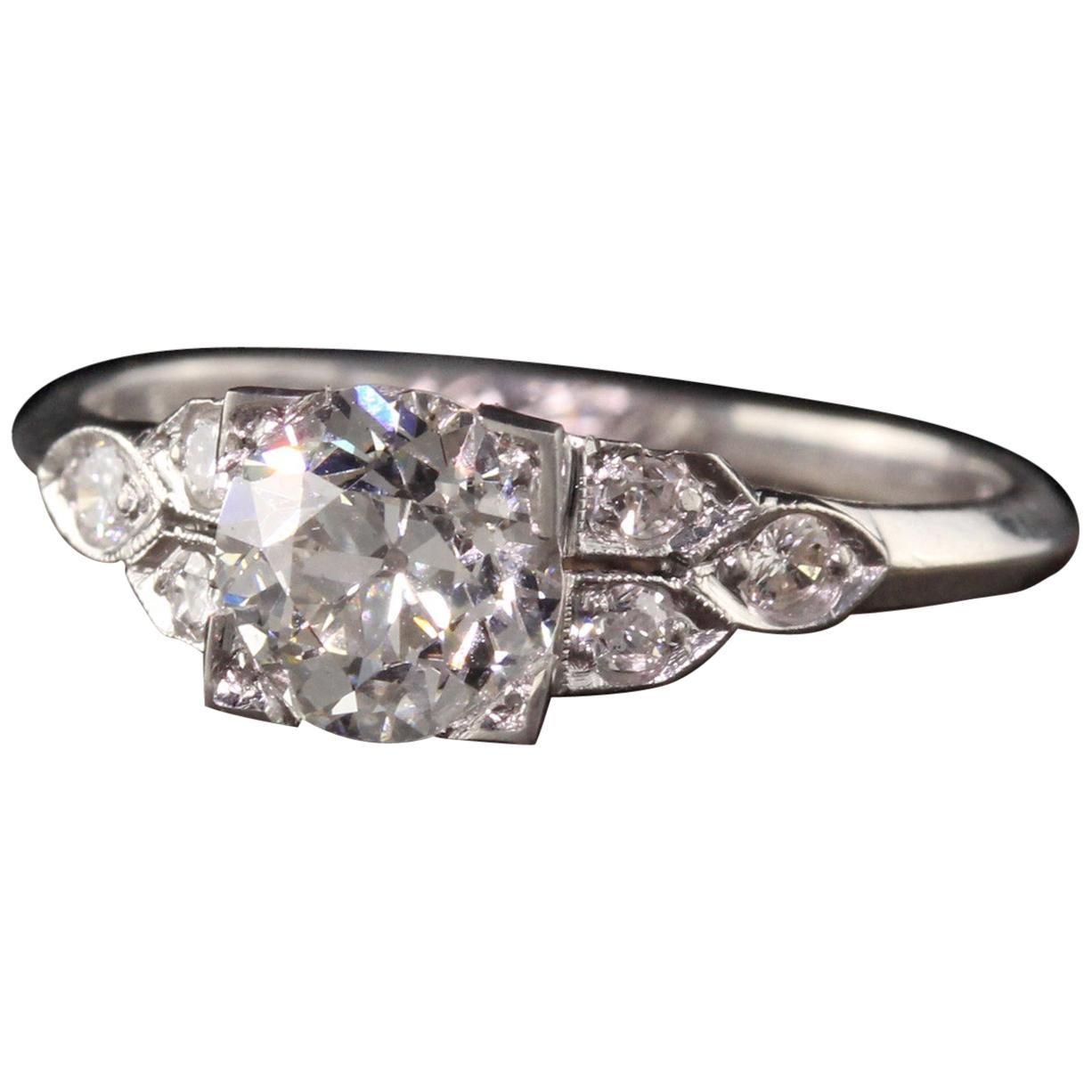 Antique Art Deco Platinum Old European Diamond Engagement Ring, GIA
