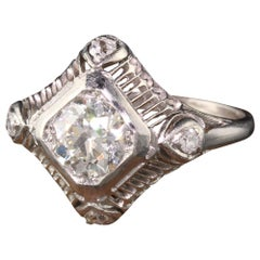 Antique Art Deco Platinum Old European Diamond Filigree Engagement Ring
