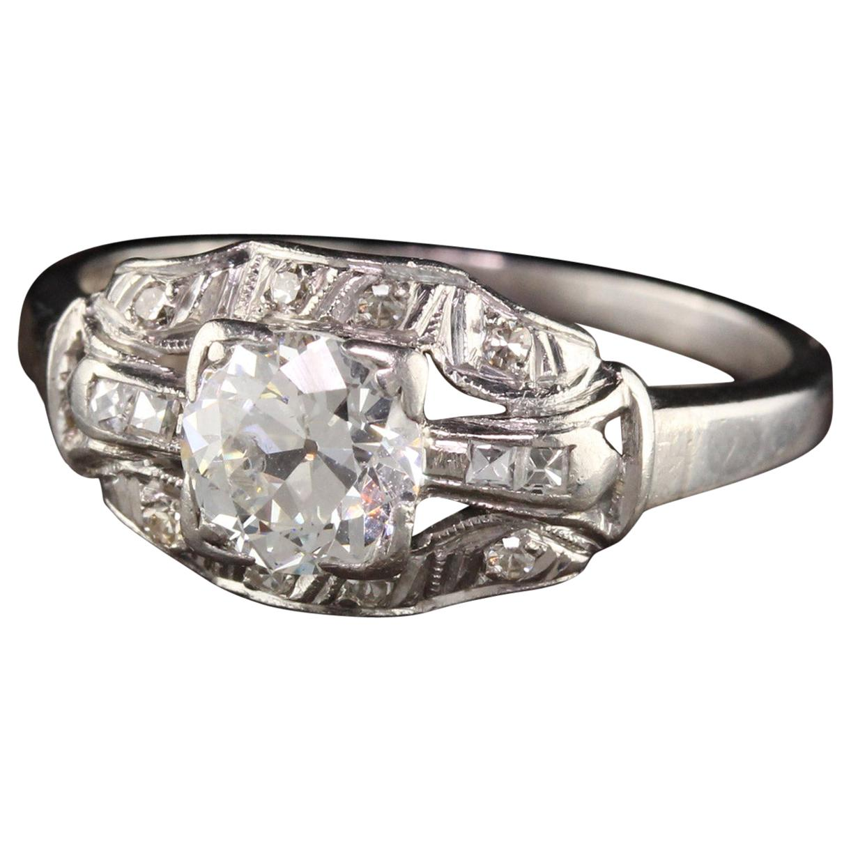Antique Art Deco Platinum Old European Diamond French Cut Engagement Ring