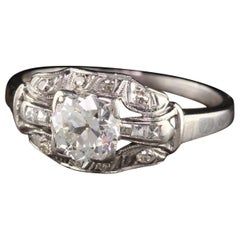 Antique Art Deco Platinum Old European Diamond French Cut Engagement Ring