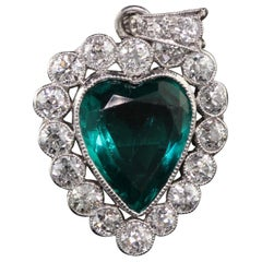 Antique Art Deco Platinum Old European Diamond Heart Pendant