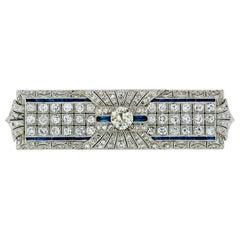 Antique Art Deco Platinum Old European Diamond Sapphire Long Filigree Brooch Pin