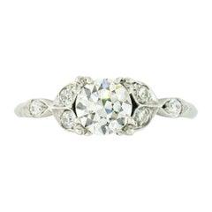 Antique Art Deco Platinum Old European Diamond Solitaire Tulip Engagement Ring
