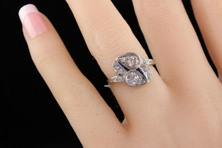 Antique Art Deco Platinum Old European Diamond Toi et Moi Ring For Sale 1