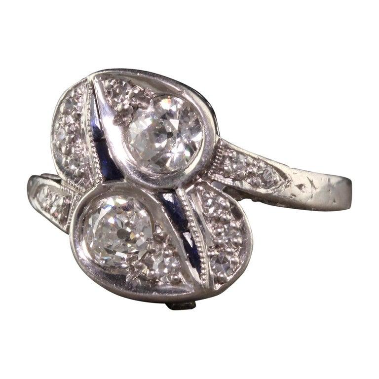 Antique Art Deco Platinum Old European Diamond Toi et Moi Ring For Sale