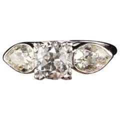 Antique Art Deco Platinum Old European Round and Old Pear Cut Diamond Engagement