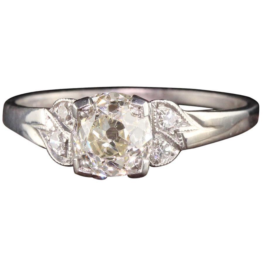 Antique Art Deco Platinum Old Mine Cut Diamond Engagement Ring