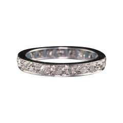Antique Art Deco Platinum Old Mine Cut Diamond Eternity Band