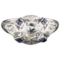Antique Art Deco Platinum Old Mine Cut Diamond and Sapphire Engagement Ring