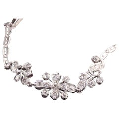 Antique Art Deco Platinum Old Mine Diamond Flower Bracelet