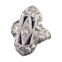 Antique Art Deco Platinum Old Mine Diamond Shield Ring