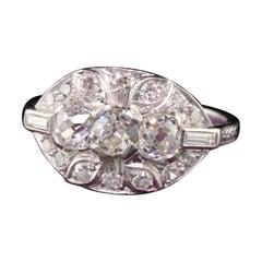 Antique Art Deco Platinum Old Mine Diamond Three Stone Engagement Ring