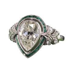 Antique Art Deco Platinum Old Pear Shape Diamond Emerald Halo Engagement Ring