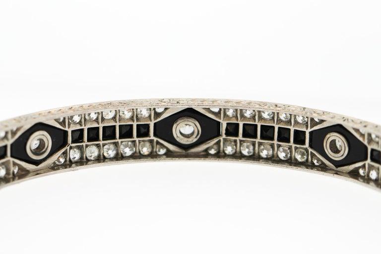 Old European Cut Antique Art Deco Platinum Onyx Diamond Bangle Bracelet For Sale
