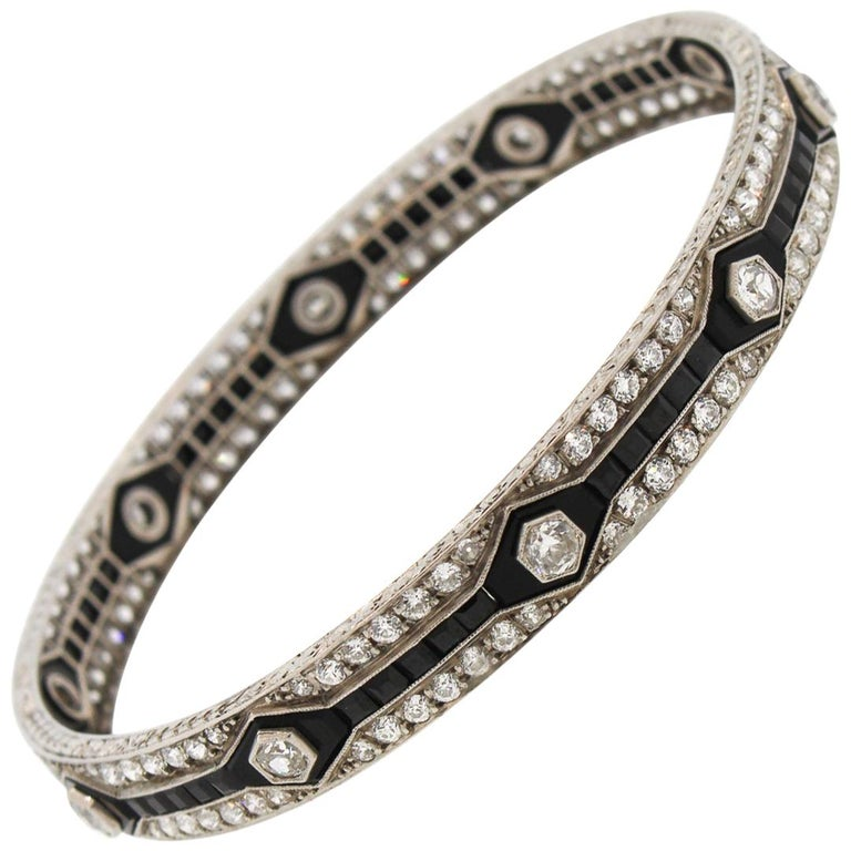Antique Art Deco Platinum Onyx Diamond Bangle Bracelet For Sale