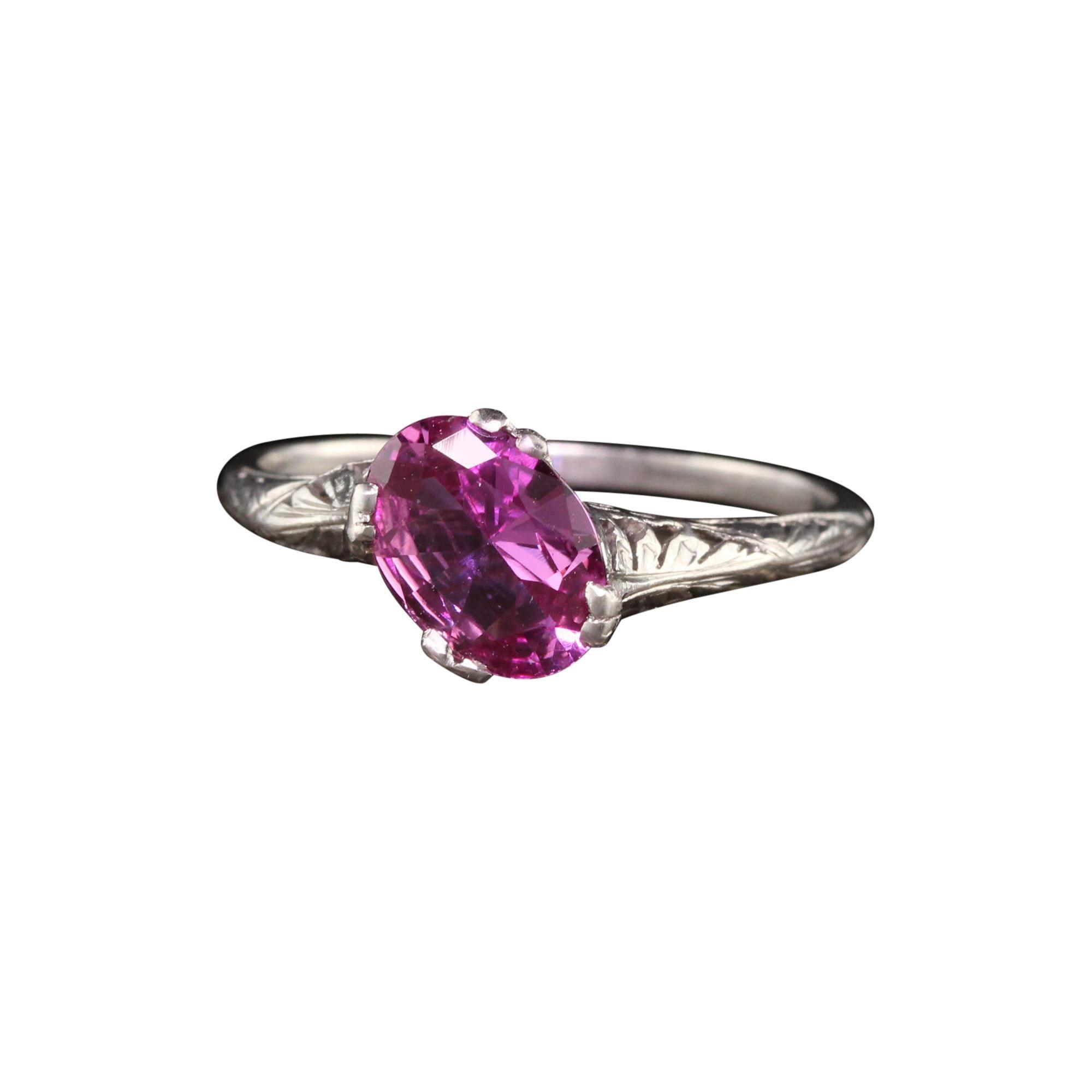 Antique Art Deco Platinum Oval Pink Sapphire Filigree Engagement Ring