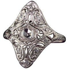 Antique Art Deco Platinum Rose Cut Diamond Shield Engagement Ring