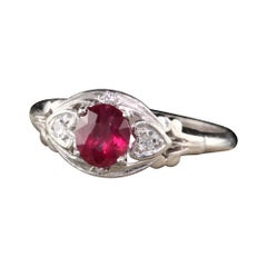 Antique Art Deco Platinum Ruby and Diamond Engagement Ring