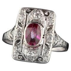 Antique Art Deco Platinum Ruby and Diamond Engagement Ring