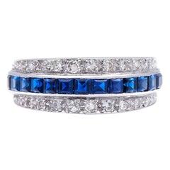 Antique, Art Deco, Platinum, Sapphire and Diamond Band Ring