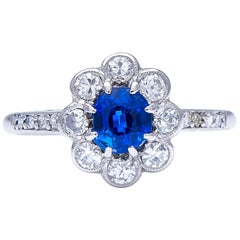 Antique, Art Deco, Platinum, Sapphire and Diamond Cluster Ring