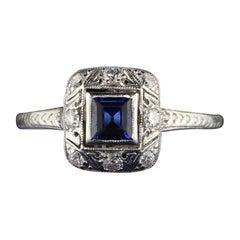 Antique Art Deco Platinum Sapphire and Diamond Engagement Ring