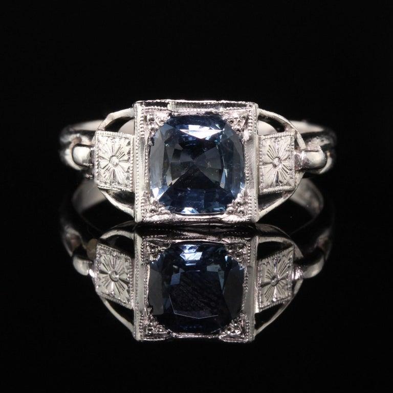 Radiant Cut Antique Art Deco Platinum Sapphire Engagement Ring For Sale