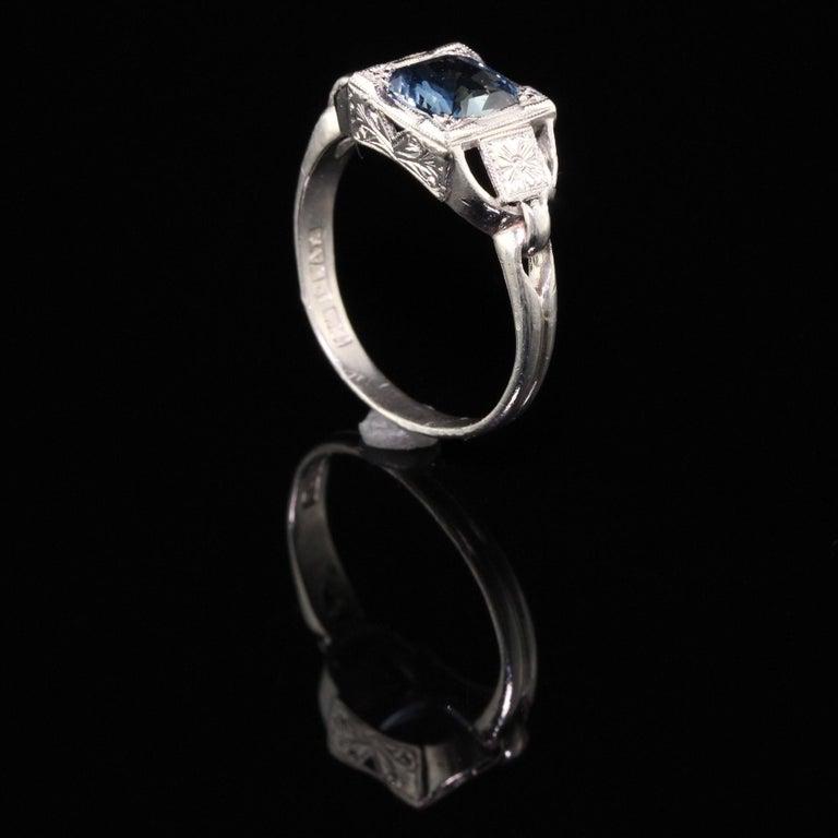 Women's Antique Art Deco Platinum Sapphire Engagement Ring For Sale