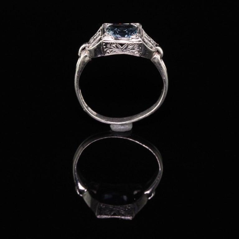 Antique Art Deco Platinum Sapphire Engagement Ring For Sale 1