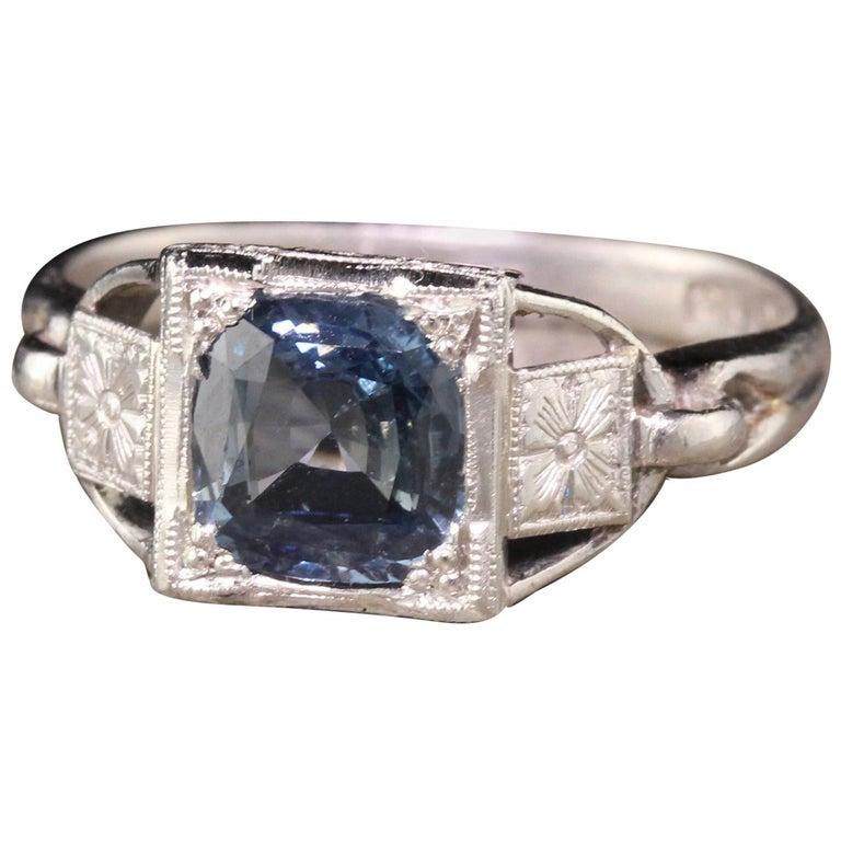 Antique Art Deco Platinum Sapphire Engagement Ring For Sale