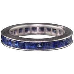 Antique Art Deco Platinum Sapphire Eternity Band