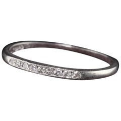 Antique Art Deco Platinum Single Cut Diamond Wedding Band