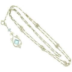 Antique Art Deco Platinum Square Aquamarine Diamond Pearl Long Necklace