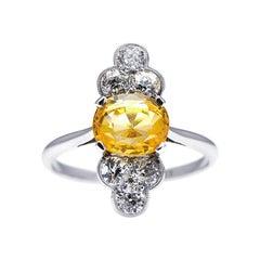 Antique, Art Deco, Platinum, Sri Lankan Yellow Sapphire and Diamond Ring