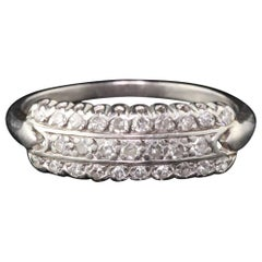 Antique Art Deco Platinum Wedding Band with Diamonds