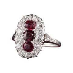 Antique Art Deco Platinum White Gold Diamond and Ruby Three Stone Ring