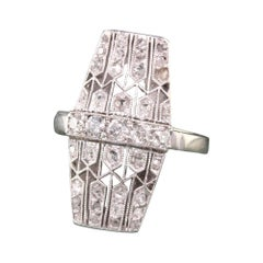 Antique Art Deco Platinum White Gold Old Mine Rose Cut Filigree Shield Ring