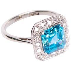 Antique, Art Deco, Platinum Zircon and Diamond Cluster Ring