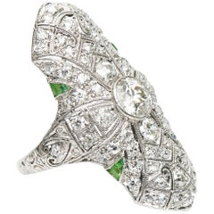 Antique, Art Deco, Rare, Platinum Demantoid Garnet and Diamond Plaque Ring