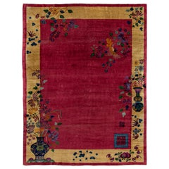Antique Art Deco Red and Yellow Chinese Handmade Floral Wool Rug